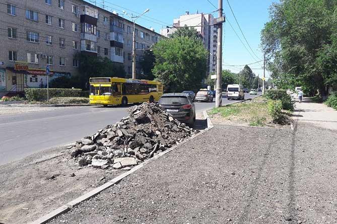 Ремонт дороги на улице Ленина