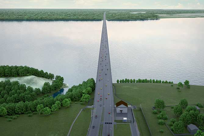 начало моста через волгу