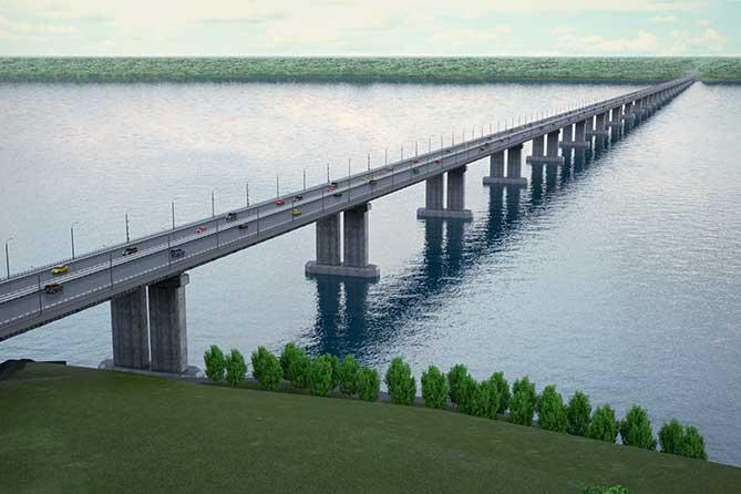 мост около города