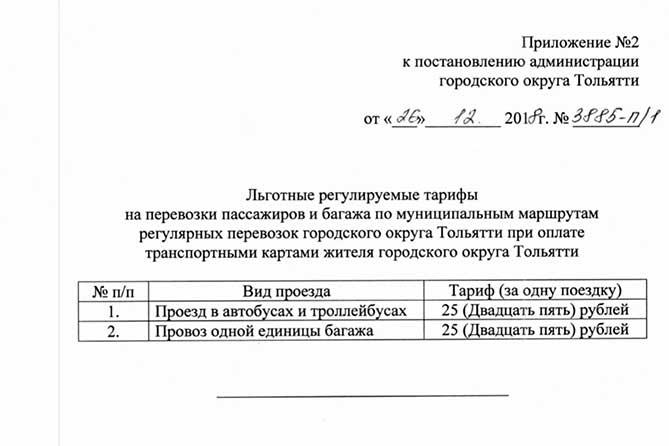 Стоимость проезда в муниципальном транспорте Тольятти с 1 января 2019 года