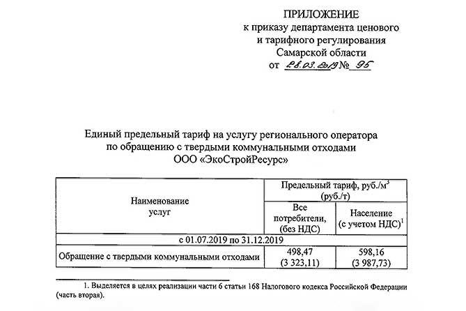 О тарифах на вывоз мусора в Самарской области с 1 июля 2019 года