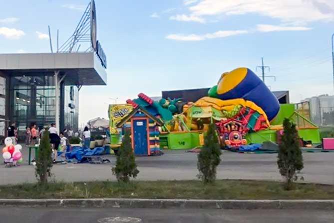 В Тольятти ветром унесло батут с детьми 1 июня 2019 года