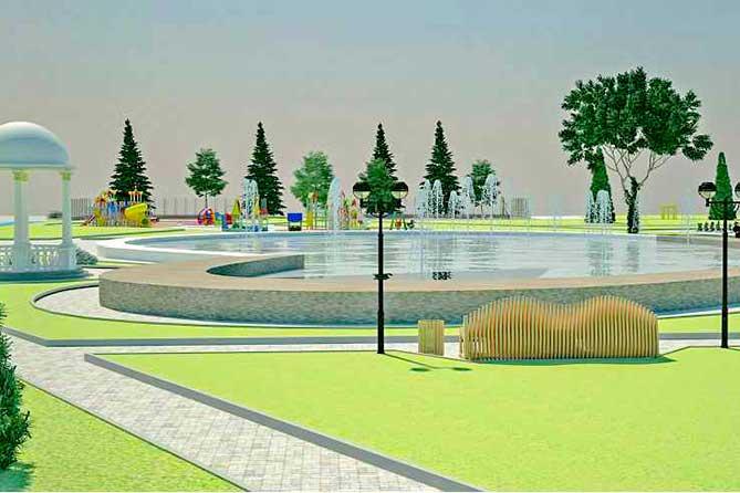 проект Итальянского сквера с фонтаном