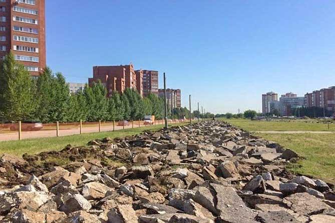 В Тольятти началась подготовка территории под строительство дороги на улице Офицерской
