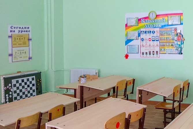 пустой школьный класс с партами и стульями