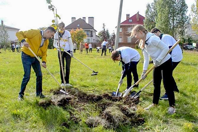 Жители Тольятти 17 сентября 2019 года высадили в дендропарке около 100 саженцев деревьев и кустарников