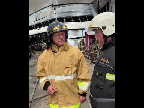 Губернатор Дмитрий Азаров проконтролировал ход ликвидации пожара на складе лакокрасочной продукции
