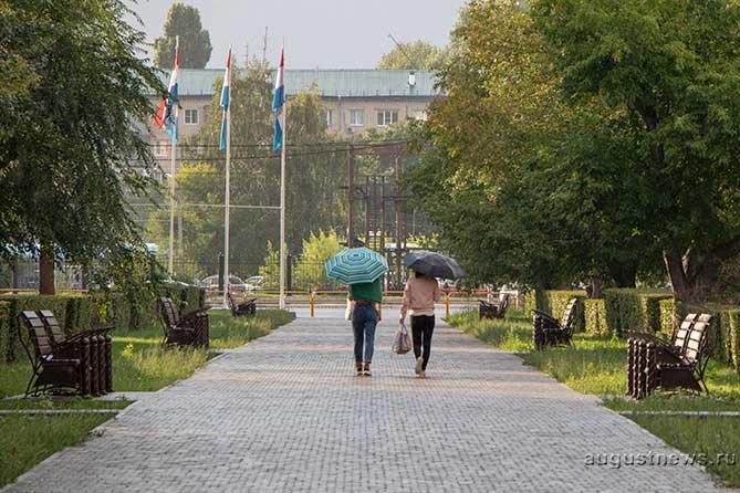 две девушки с зонтами идут по аллее на улице Жилина