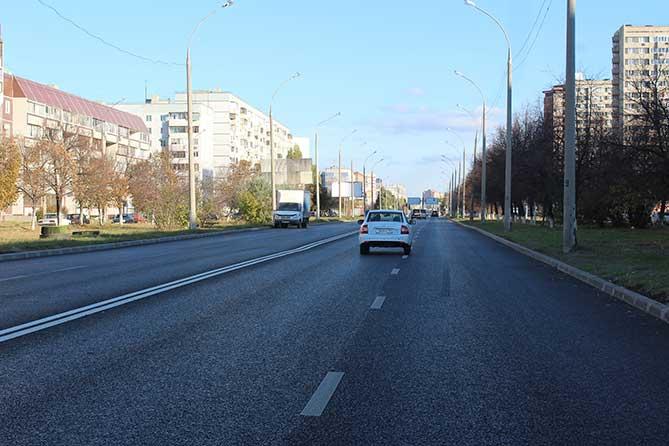 отремонтированный участок дороги на улице 70 лет Октября
