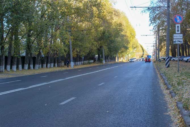 отремонтированный участок дороги на улице Дзержинского