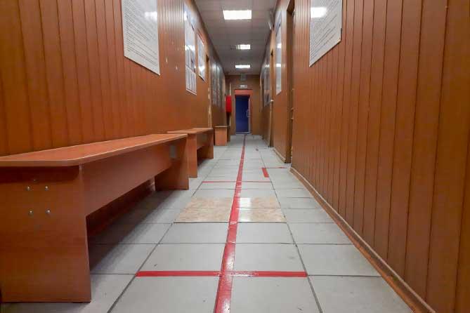разметка в коридоре военкомата